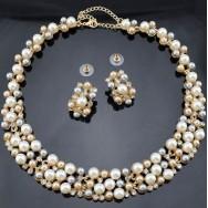 Gullbelag Halsbånd og Earrings